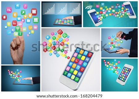 Computer technology, internet communication and icon.  - stock photo