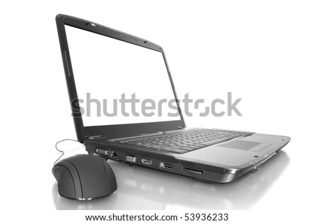 computer technology. modern laptop isolated on white background with mouse - stock photo