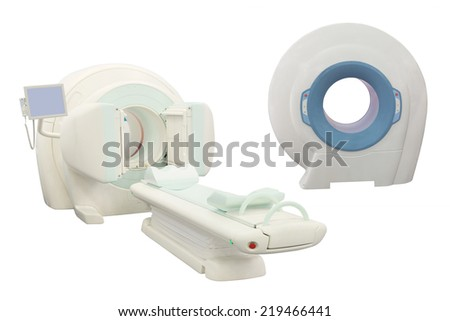 computer tomographic scanner under the white background - stock photo