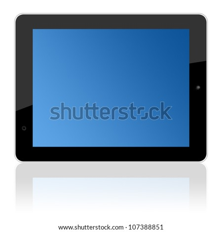 computer touchscreen tablet pc landscape isolated on white