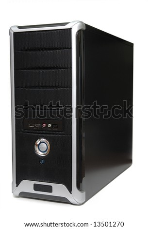 Computer tower in isolated white background