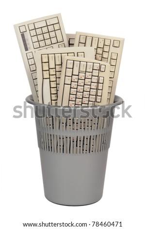 computer trash keyboard isolated on white background - stock photo
