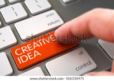 Computer User Presses Creative Idea Orange Keypad. Close Up view of Male Hand Touching Creative Idea Computer Keypad. Metallic Keyboard with Creative Idea Orange Button. 3D Illustration. - stock photo