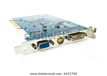 Computer video card, isolated on white background - stock photo