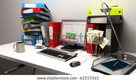computer view of a overworked office - stock photo