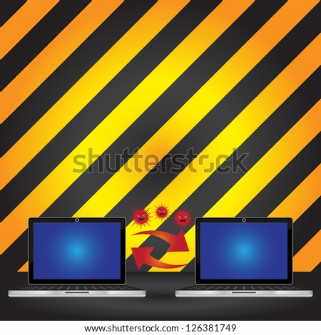 Computer Virus and Network Security Concept Present By Computer Laptop Transfer Red Virus With Some Space For Your Massage Above in Caution Zone Dark and Yellow Background - stock photo