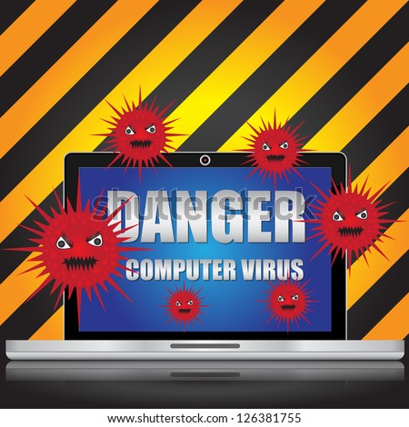 Computer Virus and Network Security Concept Present By Computer Laptop With Red Virus and Danger Computer Virus Text on Screen in Caution Zone Dark and Yellow Background - stock photo