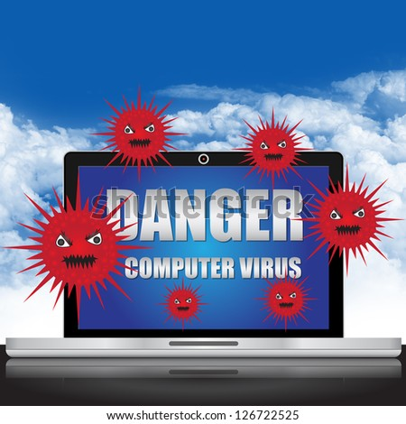 Computer Virus and Network Security Concept Present By Computer Laptop With Red Virus and Danger Computer Virus Text on Screen in Blue Sky Background - stock photo