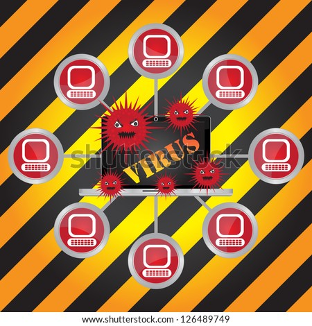 Computer Virus and Network Security Concept Present By Computer Laptop With Red Virus and Yellow Virus Text on Screen Connected to The Network in Caution Zone Dark and Yellow Background - stock photo