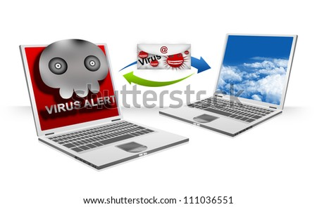 Computer Virus Concept Present By Infected Computer Viruses Attach in Email Transfer To Normal Computer Laptop Isolated on White Background - stock photo