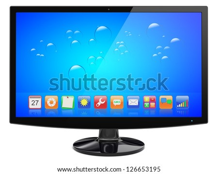 Computer wide monitor with a blue background and colorful apps on a screen. Isolated on a white. 3d image  Isolated on a white. 3d image 	 - stock photo