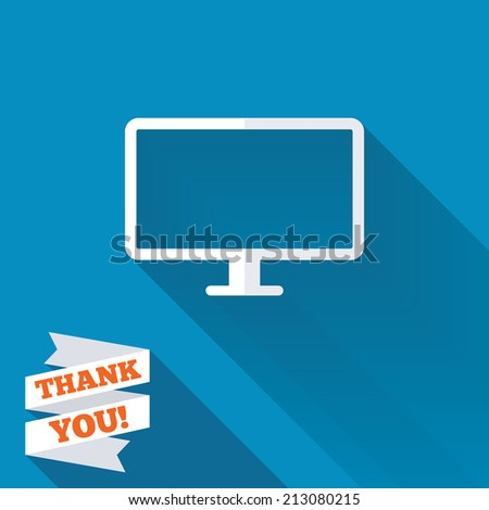 Computer widescreen monitor sign icon. White flat icon with long shadow. Paper ribbon label with Thank you text. - stock photo