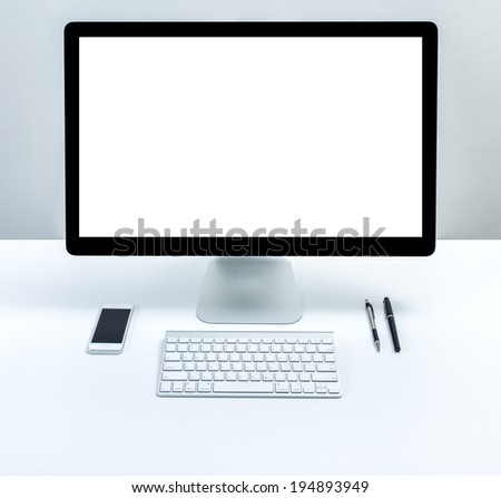 computer with blank screen monitor - stock photo