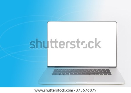 computer with blank white screen on beautiful background