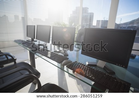 Computer with headsets at office