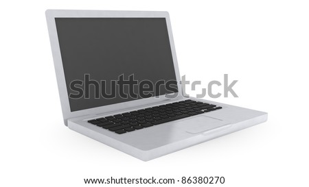 Computer with icon on white background