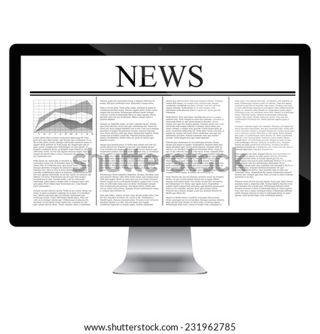 computer  with news article on screen isolated on white.