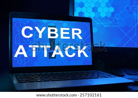 Computer with words cyber attack. Internet technology concept. - stock photo