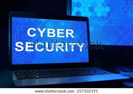 Computer with words cyber security. Internet technology concept. - stock photo