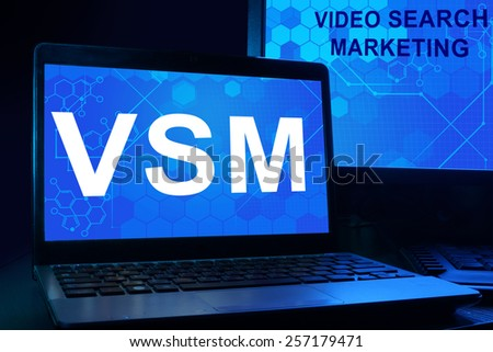 Computer with words vsm Video social marketing. Internet technology concept.