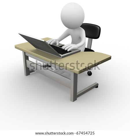 Computer worker - stock photo
