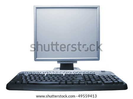 Computer workstation  monitor keyboard isolated on white background - stock photo