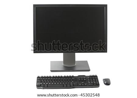 Computer workstation ( monitor, keyboard, mouse) isolated on white background - stock photo