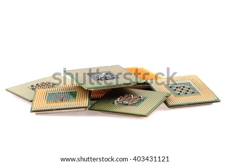 computers chips isolated on the white background - stock photo