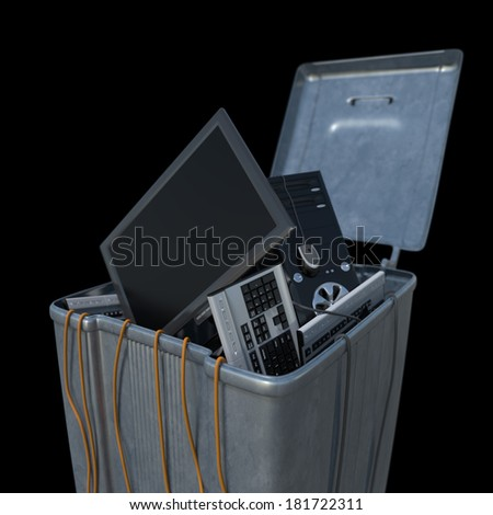 computers in a trash bin on a white background