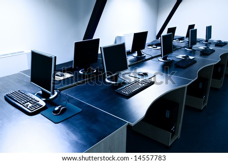 computers in corporate office - stock photo