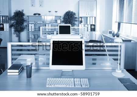 Computers in the office  on the working place - stock photo