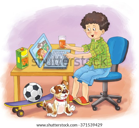 Computers, Internet, communication. A cute boy is talking to his friend by Internet, sitting at the table, with his dog watching. Illustration for children. Cartoon characters.  - stock photo