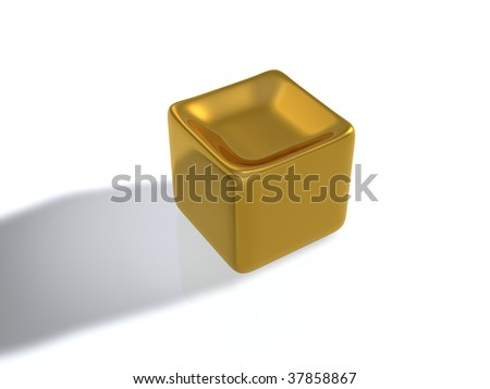 concave golden cube - stock photo