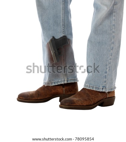 Conceal Carry Weapon Hidden in Boot - stock photo