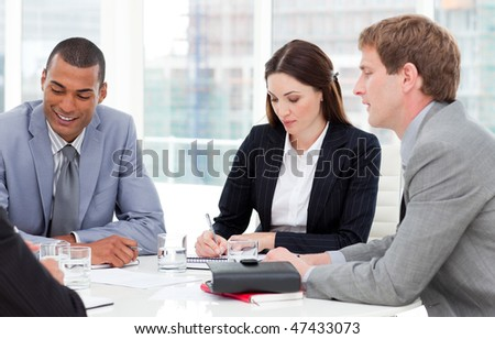 Concentrated business group having a meeting in a company