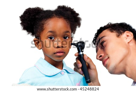 Concentrated doctor examining his young patient against a white background - stock photo