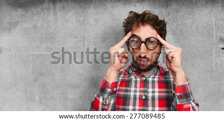 concentrated fool man - stock photo