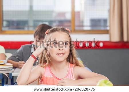 concentrated girl - stock photo