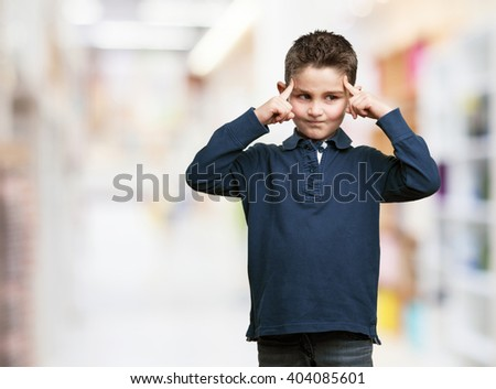 concentrated little kid - stock photo