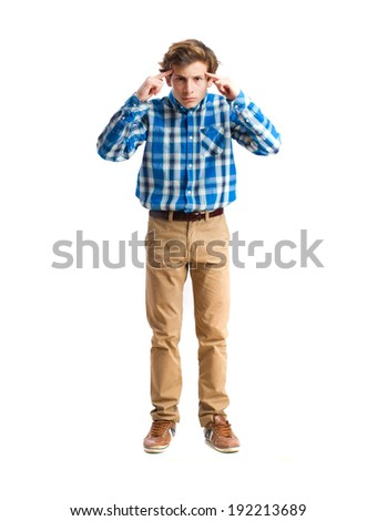 concentrated teenager. isolated - stock photo