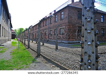 Concentration camp Auschwitz, Nazi extermination camp in Oswiecim - stock photo