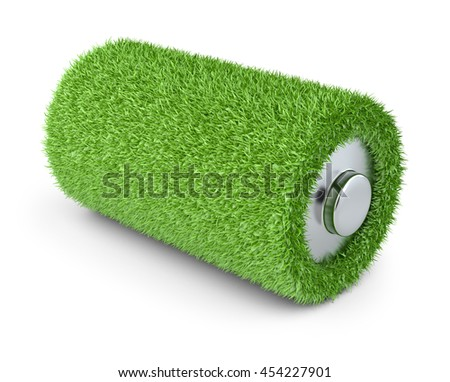 Concept a net energy. Battery from grass with white background 3d image.