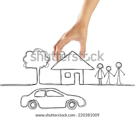 concept about car finance, real estate . Human hand put a doodle home beside doodle family. - stock photo