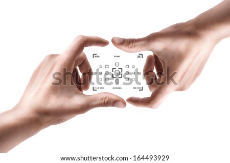 Concept (Always in focus) Hands create camera screen isolated on white background High resolution  - stock photo