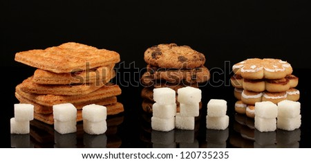 Concept: Amount of sugar in food - stock photo