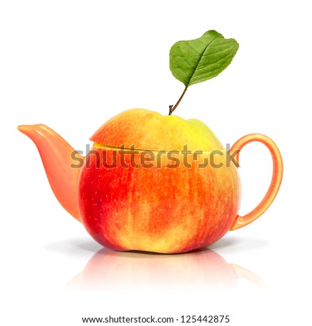 Concept apple tea on a white background - stock photo