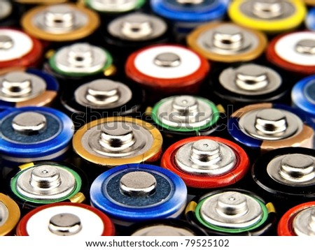 Concept background of colorful batteries