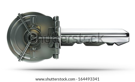concept. bank vault door with key isolated on white background High resolution 3d  - stock photo