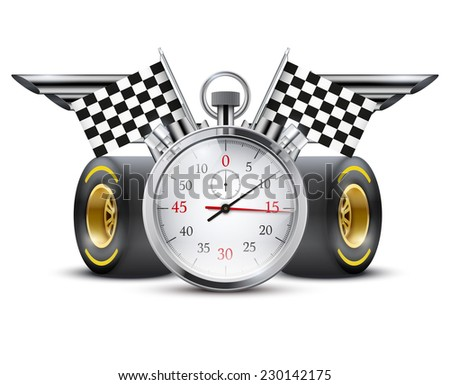 Concept banner Car racing and championship. Stopwatch and tubes in form wings.