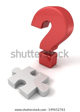 concept big red question mark with white puzzle